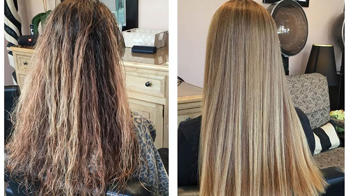 Keratin hair straightening/smoothing