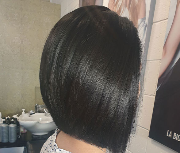 Dark black with bob haircut