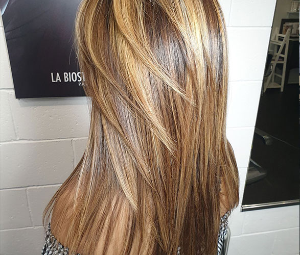 Warm brown to chunky honey gold blonde highlights