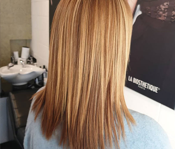 Keratin & gold Red highlights